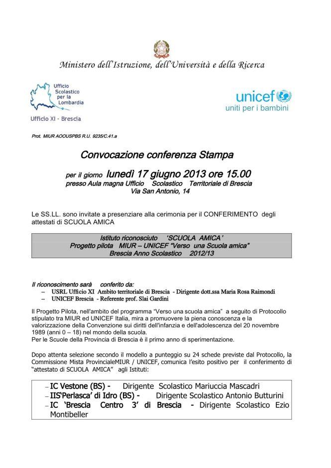 Conferenza stampa UNICEF