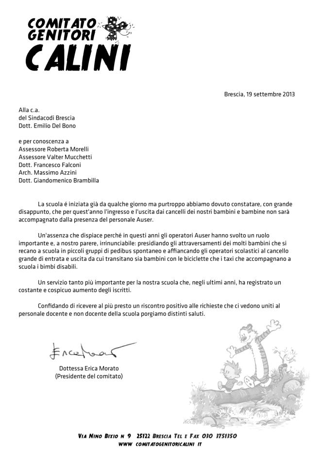 Lettera al Sindaco Del Bono in merito al problema della sorveglianza ai cancelli